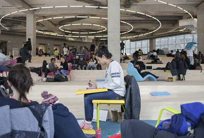 Students take advantage of flexible space in the new Yonge Street building. Photo by Christopher Manson.