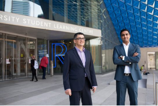 Shamez Virani, right, vice-president at CentreCourt Developments with Mansoor Kazerouni, executive vice-president of Page + Steele/IBI Group Architects. The Student Learning Centre at Ryerson University inspired the study hub they'll build at Grid Condos.