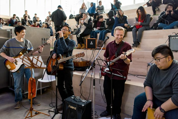Musicians performing in the SLC Amphitheatre