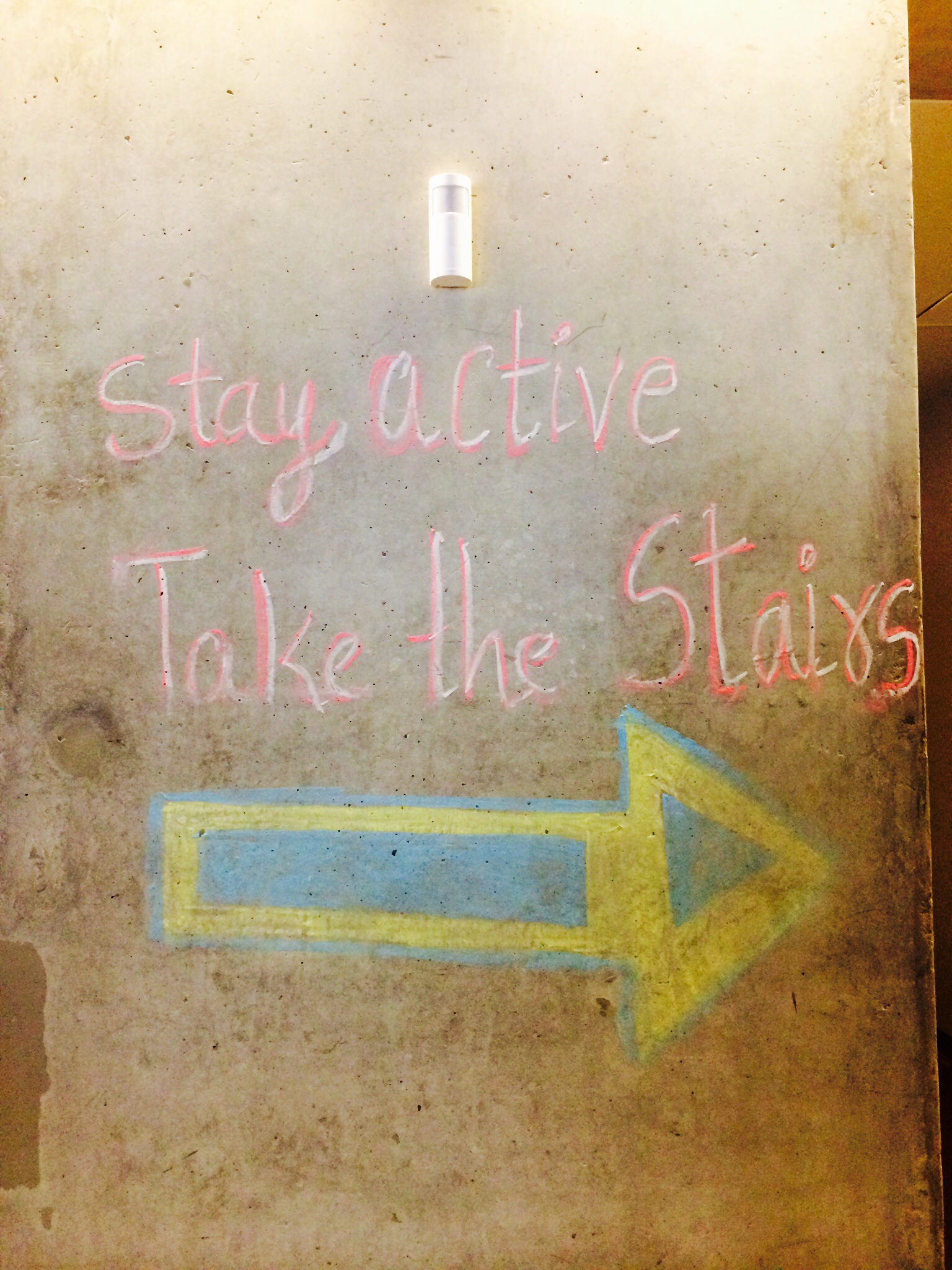 """Take the Stairs"" Chalk drawing on wall in SLC"