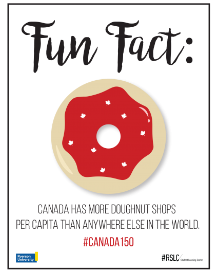 A red donut decorated with white maple leaf sprinkles