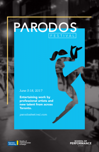 Blue Parodos Festival poster depicting a dancer
