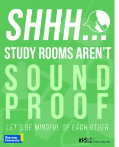 Poster reading study rooms aren't soundproof