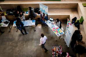 Aerial view of a tabling activity at the SLC