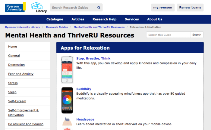 This photo shows a preview of a page of resource links put together by Mental Health and ThriveRU. This photo can be clicked on to go directly to that page.