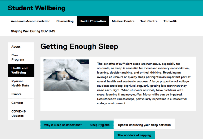 """This is a photo showing a preview of the Student Wellbeing page on sleep.  The title of the page says """"Getting Enough Sleep""""  Subcategories are also listed:   - Why is sleep so important? - Sleep Hygiene - Tips for improving your sleep patterns - The wonders of napping  You can click on this picture to go directly the website."""